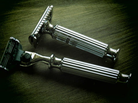 Cartridge/Safety Razor in white chrome vertical pattern - Bundubeard