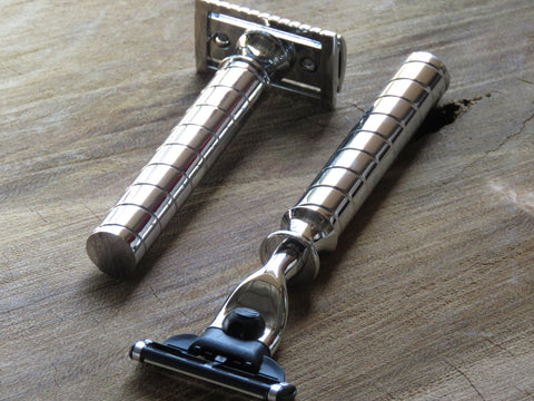 Cartridge/Safety Razor in spiral white chrome - Bundubeard