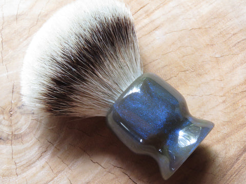 Bleen (Blue and Green) resin brush with a 26 mm Silvertip top (CB139) - Bundubeard
