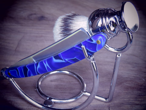 Straight razor and brush stand, roundbar in hard chrome finish - Bundubeard