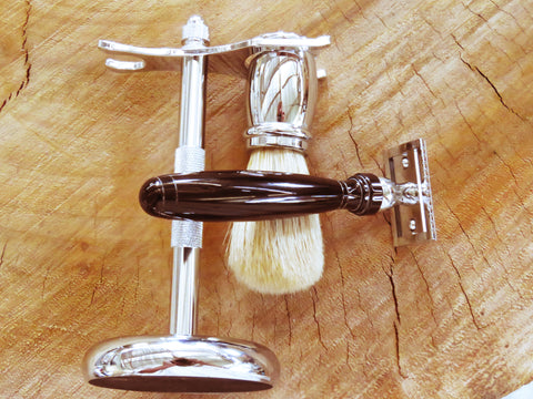 Razor, stand and brush. Chrome & Black - Bundubeard