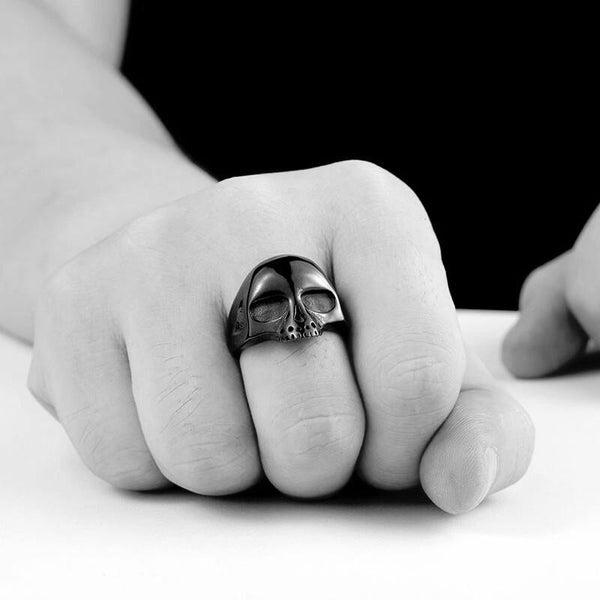 Crypt Ring - Statement Skull Silver Rock Ring over-size large Industrial Gothic Goth Classic Black