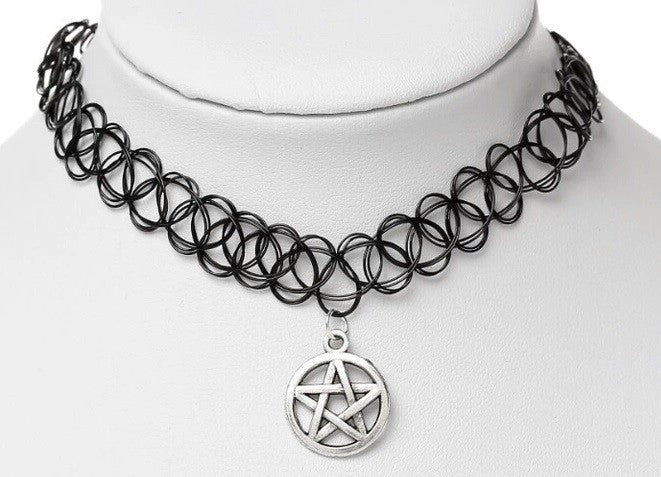 Pentagram Tattoo Choker - symbol Witchy Witch Wiccan wicca Silver Rock Retro Pagan Metal Goth Gothic Choker Adjustable Simple Nu-goth magic Delicate Classic Black 90's