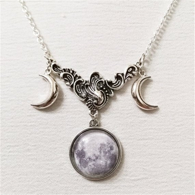 crescent Vintage Witchy Antique Witch Wiccan wicca Silver Pagan Nu-goth Moon magic Gothic Goth Chain
