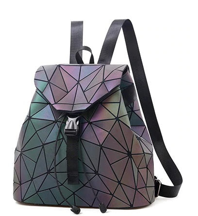 Rucksack Drawstring Backpack Streetgoth Street Reflective Reflect Rainbow Post-apocalyptic Nu-goth Metal Matte Matt Industrial Handbag Grunge Gothic Goth Geometric Futuristic Bags Bag Accessory