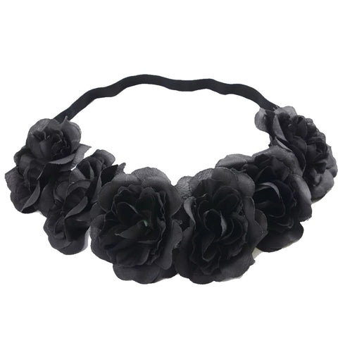 Black Flower Crown - Witch Rock Pastel Goth Nu-goth Hair tie Hair Elastic Hair Grunge Gothic Goth Flowercrown Flower Festival crown crow Bobble Black Adjustable Accessory