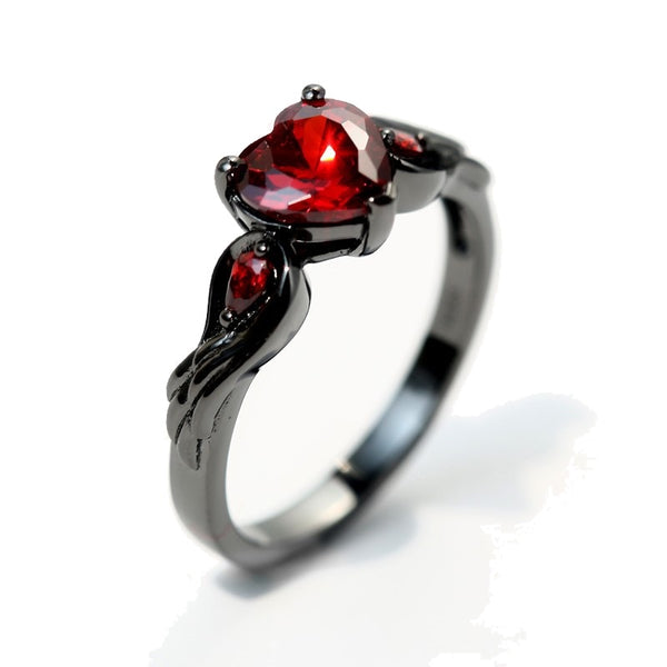 Bleeding Heart Ring - Engagement Ring Engagement Wings Ring loveheart heart Gunmetal Gun-metal Goth Gothic diamante cubic zirconia crystals crystal Rock Nu-goth inverted pentagram