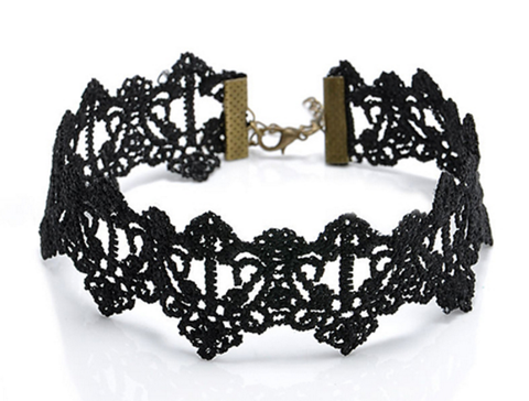 Countess Choker -Vintage Vampire Vamp Rock Nu-goth Metal lace Gothic Goth Filigree Delicate Choker Black Adjustable