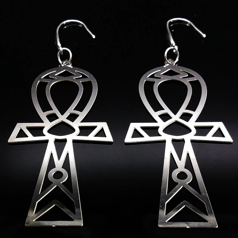 Ankh magic Stainless Steel Steel Silver Dangly Witchy Witch Wiccan wicca symbol Pagan occult Moon Gothic Goth Earring Ear