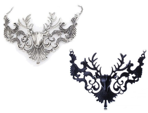 Cernunnos Statement Necklace - vintage Statement Stag Silver large Gothic Goth Filigree Delicate deer Black Antique