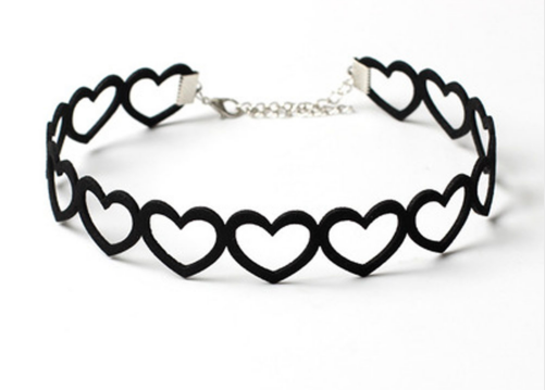 Hollow Heart Choker - loveheart heart Rock Nu-goth Metal Gothic Goth felt Choker Black Adjustable