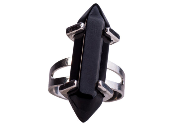 Juno Ring - Witchy Witch Wiccan wicca stone Statement Silver Metal Rock Ring quartz Pastel Goth over-size Nu-goth Onyx magic large Grunge Goth Gothic crystal Amethyst Adjustable Strega chakra