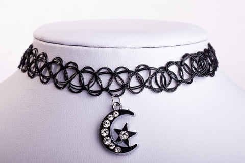 Moon and Stars Tattoo Choker - Witch Simple Silver Nu-goth magic Gothic Goth Delicate Classic Choker Black 90's