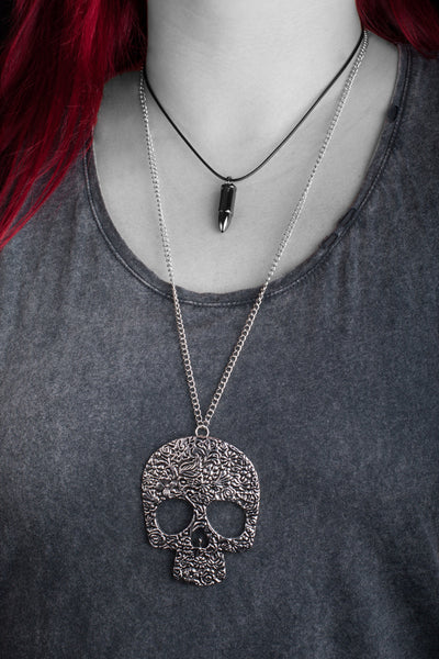 Kata Necklace - Necklace Bullet Steel Silver Rock Nu-goth Metal Gothic Goth Post-apocalyptic Industrial Gunmetal Gun-metal Futuristic