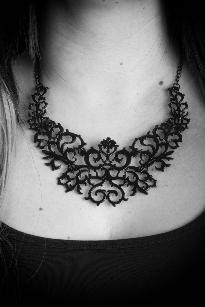 Lorelei Necklace -Rock Statement Vampire Vamp over-size Necklace Metal large Gothic Goth gloss Filigree Black Art-Deco Nu-goth