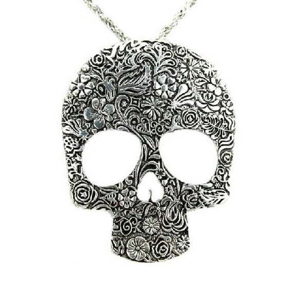 Muerte Oversize Necklace - sweater Strega Skull over-size Metal Long necklace long large jumper Chain Statement Silver Gothic Goth