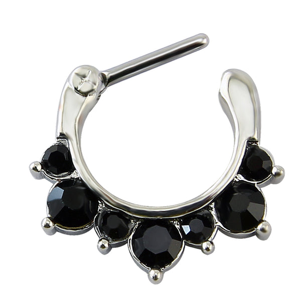 Jeyla Septum Clicker - Steel Silver septum Semi-precious Rock Piercings Piercing nose hanger Gothic Goth diamante crystal body jewelry body jewellery Nu-goth Metal clicker Accessory