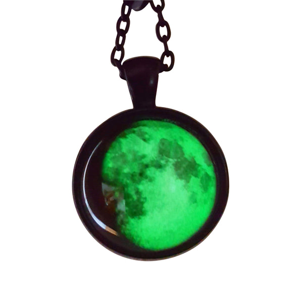 Lillith Glow in the Dark moon Pendant - Goth Gothic Alternative moon occult nugoth black jewellery jewelry