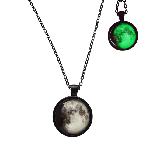 Lillith Necklace - Witch Wiccan wicca Silver Pagan Nu-goth Moon Matte Black Matte Matt magic Green Gothic Goth Glow in the dark Glow Classic Chain Black
