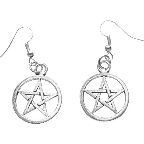Maeve Earrings - Witchy Witch Wiccan wicca symbol Strega Simple Silver Rock Pentagram Pagan Nu-goth Metal magic Gothic Goth Earring Dangly Classic
