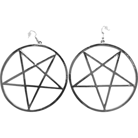Mendes Earrings - Streetgoth Street Rock Pastel Goth Metal Grunge Earring Statement Silver inverted pentagram occult Witchy Witch Wiccan wicca symbol Strega Pentagram Pagan over-size Nu-goth magic Gothic Goth Dangly
