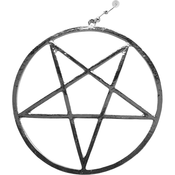 Streetgoth Street Rock Pastel Goth Metal Grunge Earring Statement Silver inverted pentagram occult Witchy Witch Wiccan wicca symbol Strega Pentagram Pagan over-size Nu-goth magic Gothic Goth Dangly