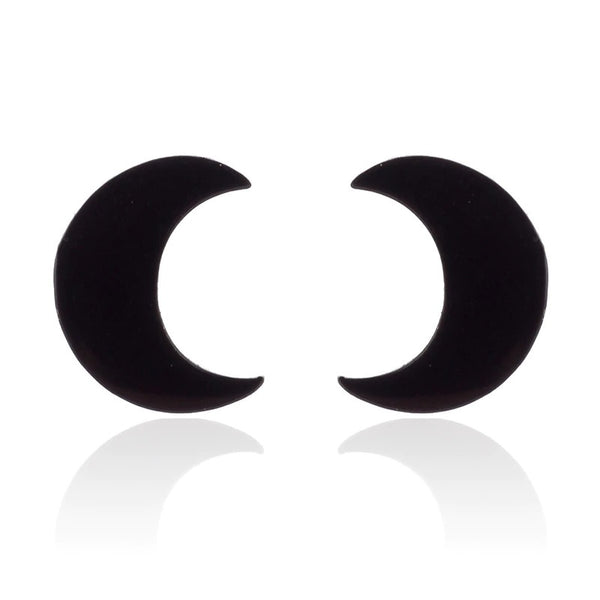 Moon Studs - Silver Simple crescent Moon Stud Piercings Piercing Nu-goth Metal Industrial Grunge Gothic Goth Black Accessory