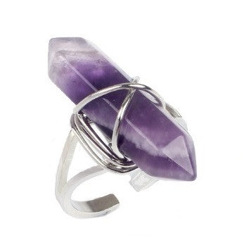 Morgan Ring - Pastel Goth Witchy Witch wicca Strega stone Silver Rock Nu-goth magic large crystal chakra