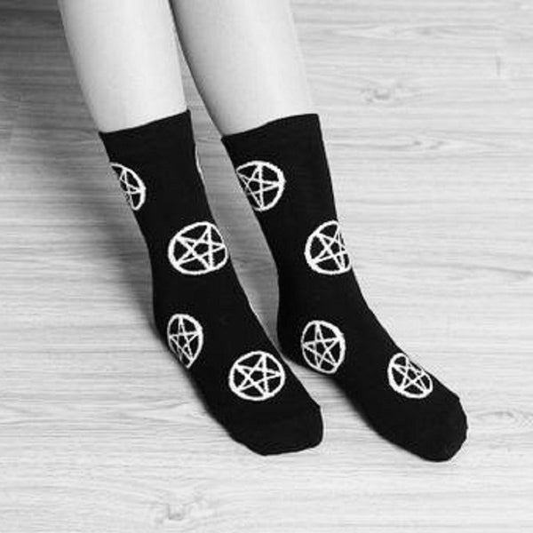 Cotton Sock Socks Pagan occult inverted pentagram Wiccan Witchy Witch wicca symbol Rock Pentagram Nu-goth Metal Gothic Goth Classic