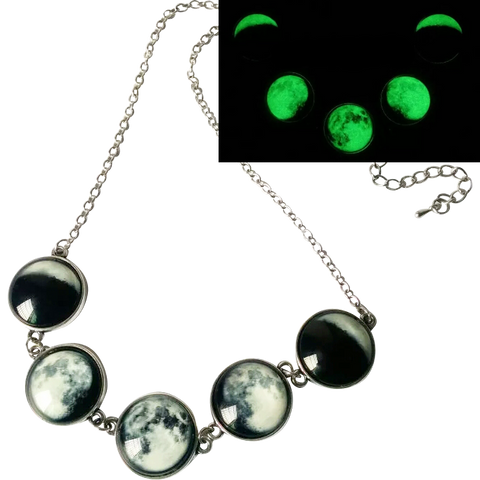 Phase Necklace - Witch Wiccan wicca Silver Pagan Nu-goth Moon magic Green Gothic Goth Glow in the dark Glow Classic Chain
