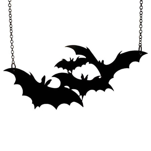 Pipistrelle Necklace - Acrylic Metal rockabilly Vamp Vampire Retro Rock Plastic occult Nu-goth Necklace halloween Gothic Goth Classic Black Bat