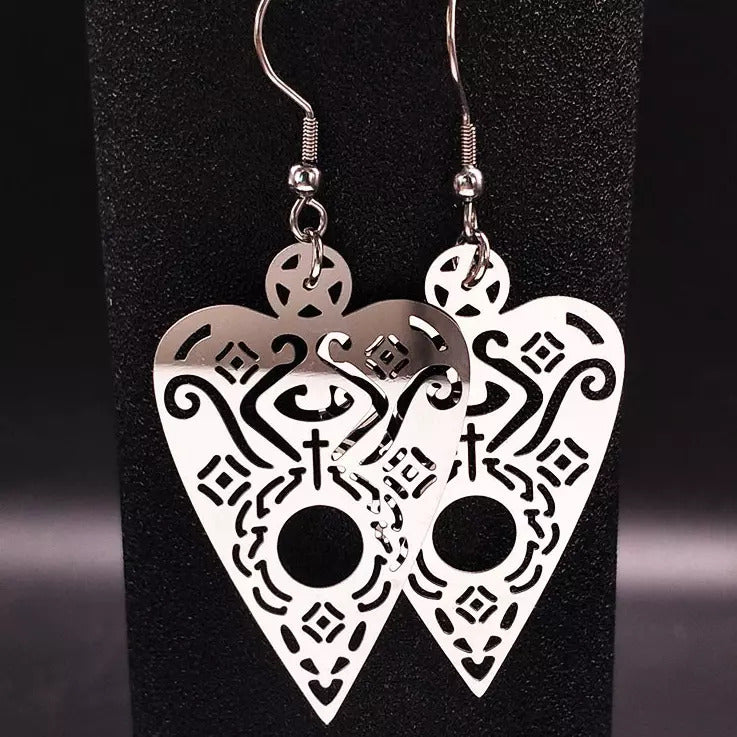 Planchette Ouija Witchy Witch symbol Steel Stainless Steel Silver Pagan occult magic Gothic Goth Earring Ear Dangly