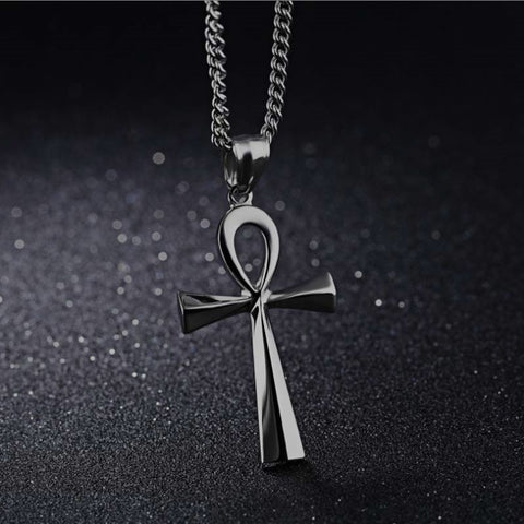 symbol Streetgoth Street Pentagram Pagan occult Nu-goth Necklace Metal mens Long necklace long jumper Gunmetal Gun-metal Gothic Goth Egyptian Egypt Chain