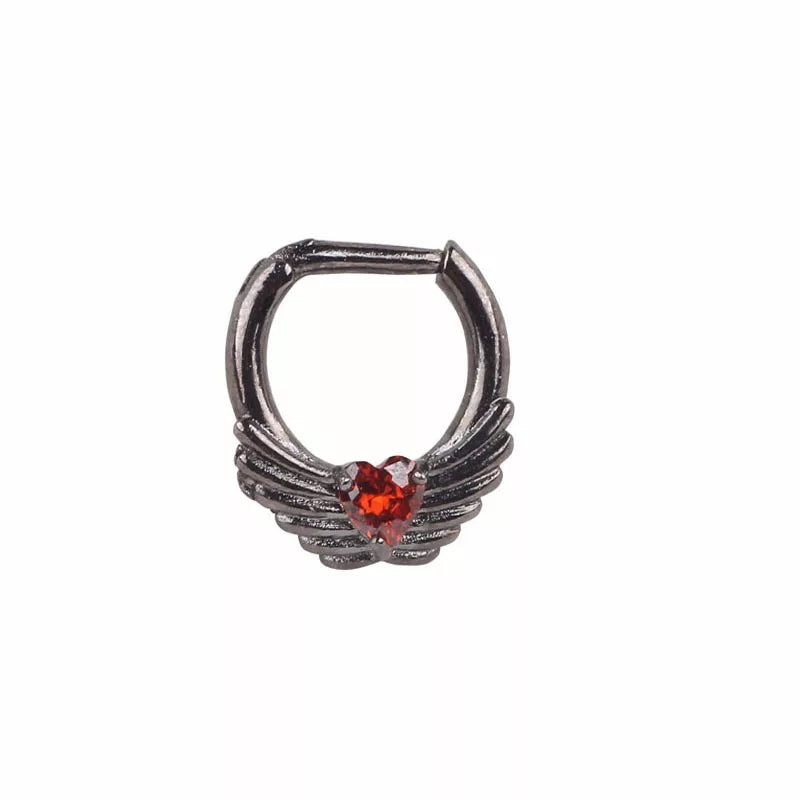 Scarlet Heart Septum Clicker - angel Wings septum Piercings Piercing Nu-goth Metal loveheart heart Gunmetal Gun-metal Gothic diamante crystal Black body jewelry body jewellery nose clicker Accessory