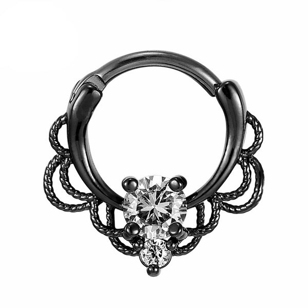 Senga Septum Clicker - Steel Silver septum Rock Piercings Piercing Nu-goth nose Metal hanger Gunmetal Gun-metal Gothic Goth Filigree Delicate Curly crystal clicker body jewelry body jewellery Accessory