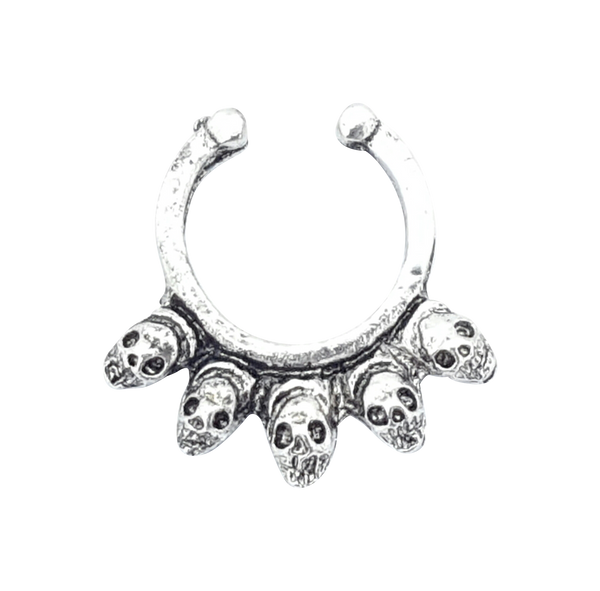 Skull Faux Nose/Septum Hanger - Skull Silver septum Post-apocalyptic Nu-goth nose Metal Industrial Gothic Goth Futuristic faux fake clicker Accessory