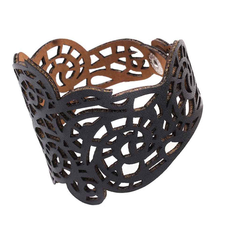 TRacery Cuff - Vamp Rock PU Metal Leather Gothic Goth Filigree Faux-leather Cuff Bracelet Black Adjustable