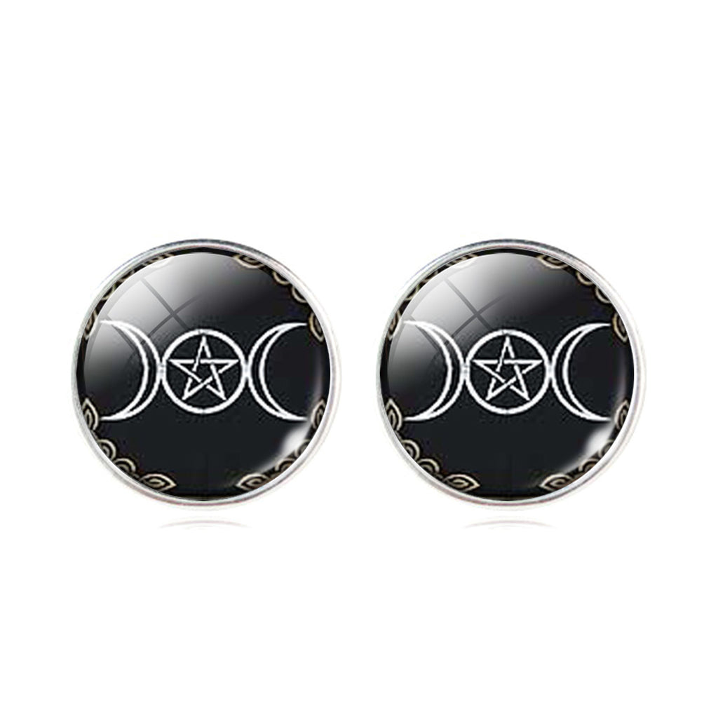 Triple moon goddess stud earrings - Witchy Witch Wiccan wicca symbol Studs Stud Silver Pagan occult Moon Gothic Goth Earring Ear