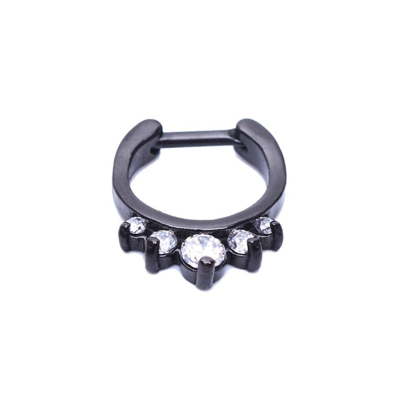 Vyn Septum Clicker - diamante crystal septum Rock Piercings Piercing Nu-goth nose Metal hanger Gothic Goth clicker body jewelry body jewellery Black Accessory