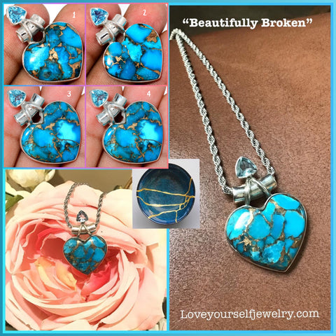 Beautifully Broken: gorgeous copper turquoise heart pendant set in solid sterling silver with blue topaz accent