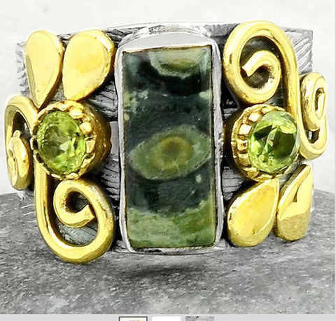 """Star Breather"" one of a kind.  Galaxy jasper and peridot solid sterling silver ring Sz 8.5"