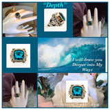 """Depth"" 5 carat apatite stone set in solid sterling silver with brass and copper accents"