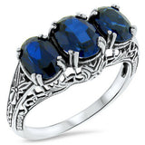September's birthstone 3 carat ring blue sapphires in choice of settings in ornate sterling silver ring
