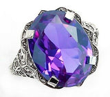 """His Beauty"" stunning 8 carat color changing (lab) alexandrite set in ornate filigree solid sterling silver Sz 9"