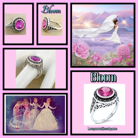 Bloom gorgeous 3 carat lab pink sapphire and seed pearl sterling silver ring