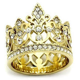 """Glory Crown"" gorgeous stainless steel crown ring with 14 k gold ion plate"
