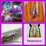 """Dimensions""   Gorgeous sterling silver  statement-ring with pink and purple abalone"