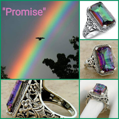 """Promise"" gorgeous 10 carat color changing rainbow topaz set in solid  ornate sterling silver filigree setting"