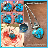 """Beautifully Broken""  Gorgeous copper turquoise pendant set in solid sterling silver with blue topaz accent., comes with a chain"