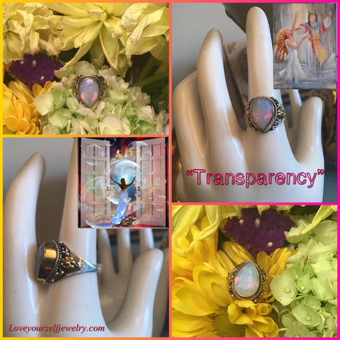 """Transparency"" Another beauty from the ""Transcendent Beauty"" series. Gorgeous 6 carat fire opalite set in solid sterling silver with brass and copper accents.  This one is a SIZE 7 1/2. ($55)"